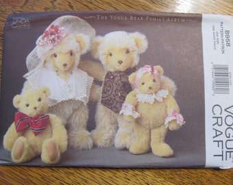 ADORABLE Designer Teddy Bears in 2 Sizes - Traditional Soft Sculpture Toy - UNCUT Sewing Pattern Vogue 8958