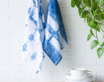 Tea Towels | Indigo Dyed Shibori Flour Sack Cotton Tea Towels | 2 Pack with Hand Embroidered Tags