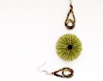 Hoop earrings, paper earrings, wire wrapped earrings, round earrings, recycled paper, hoop jewelry, unusual jewelry, boho earrings, quirky