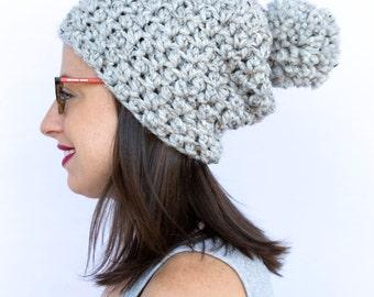 Womens slouchy beanie,  Crochet pom pom hat, Slouchy Knit hat, slouchy knit beanie, Slouchy hat, beanie, winter beanie, pom pom hat