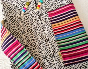 Yoga mat bag - Mexican textiles -  choose your EMBROIDERED MEX FABRIC for pocket & carry strap at sidebar