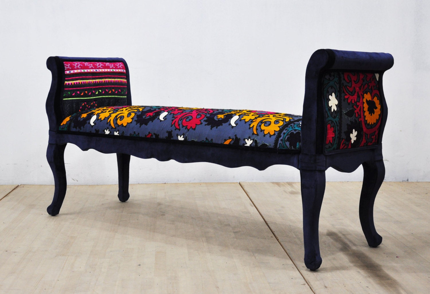 Marquis Patchwork Bench Navy Blue By Namedesignstudio On Etsy