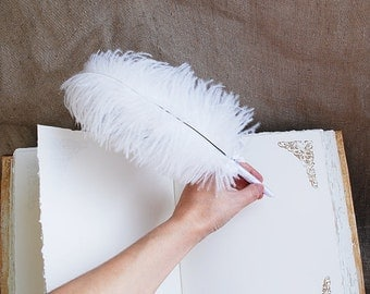 Wedding pen, Guest Book pen, White feather pen, White Ostrich Feather Pen, Rustic wedding guest book pen, wedding feather decor,  gift idea