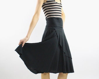 Faux Wrap Circle Midi Skirt Solid Black Hemp Organic Cotton office clothing lady like fall winter ecofriendly wide waistband  Rose Temple