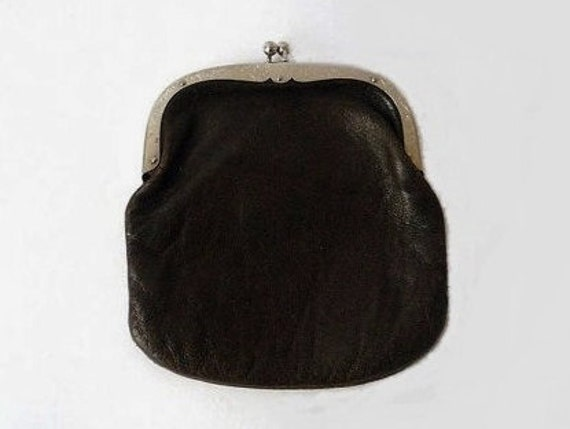 Vintage Big Leather Purse With Silvery Frame