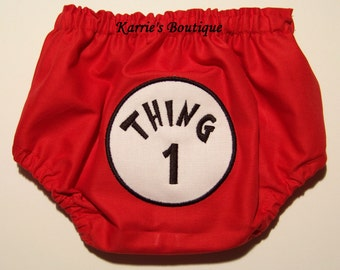 Thing 1 Diaper Cover / BOY / Red Bloomer / Dr Suess / Thing 2 3 4  / Birthday/ Newborn / Infant / Baby / Toddler / Custom Boutique Clothing