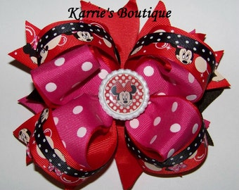 Minnie Mouse Hair Bow or Headband / Pink & Red / Disney Princess / Pageant / Photo Prop / Infant / Baby / Girl / Toddler / Custom Boutique