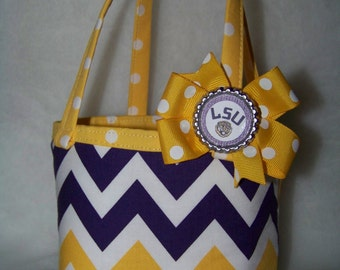 LSU Reversible Purse / Removable Bottle Cap Bow / LSU Baby / Purple / Gold / Tigers/ Girl / Toddler / Handmade / Custom Boutique Clothing