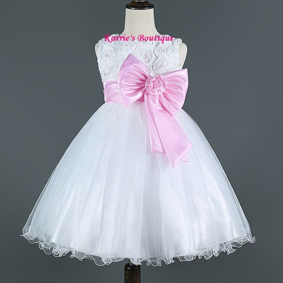 White And Baby Pink Flower Girl Dresses 104