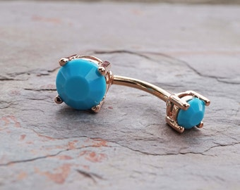 Turquoise 14kt Rose Gold Belly Button Ring Prong Set