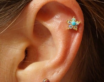 Gold Cartilage Earring Tragus Stud Daisy Turquoise