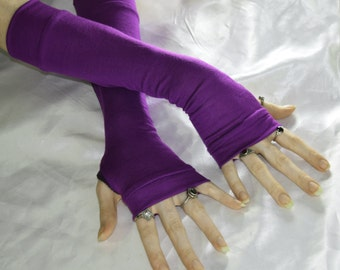 Arm Warmers purple arm warmer goth fingerless gloves sleeves - Her majesty - knit Gothic violet Lolita emo belly dance hand fasting gypsy