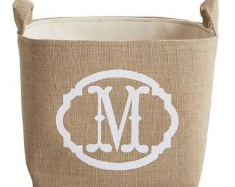 CLOSEOUT! Monogrammed Burlap Storage Basket, White