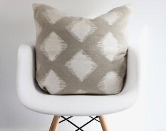 Maya in metallic pearl on taupe organic hemp 24x24 pillow cover