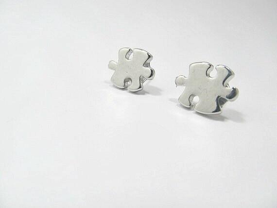 Autism Puzzle Piece Stud Earrings