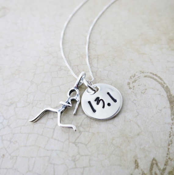 Half Marathon Necklace - Runner Necklace - Runner Jewelry - Half Marathon Achievement Jewelry - Sterling Silver Charm - Runner Girl