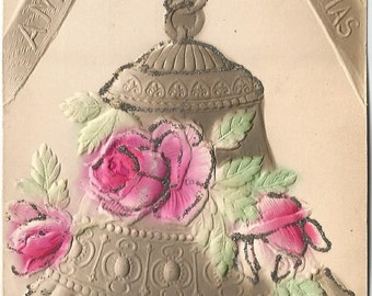 Large Silver Bell Decorated with Pastel Pink Roses Accented in Fine Silver Glitter Heavily Embossed and Airbrushed Novelty Vintage Postcard
