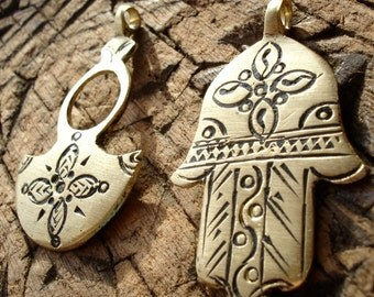 2 x Moroccan medium shiny gold colour pendants with flower four petal  design