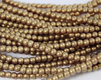Sueded Gold Garnet 4mm round beads   - 100 Czech Beads