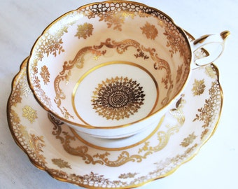 Paragon Teacup and Saucer, Blush and Gold Vintage Tea Cup