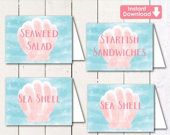 """Under the sea/Mermaid 2.5x3.5"""" Editable (instant download) printable food tent labels"""