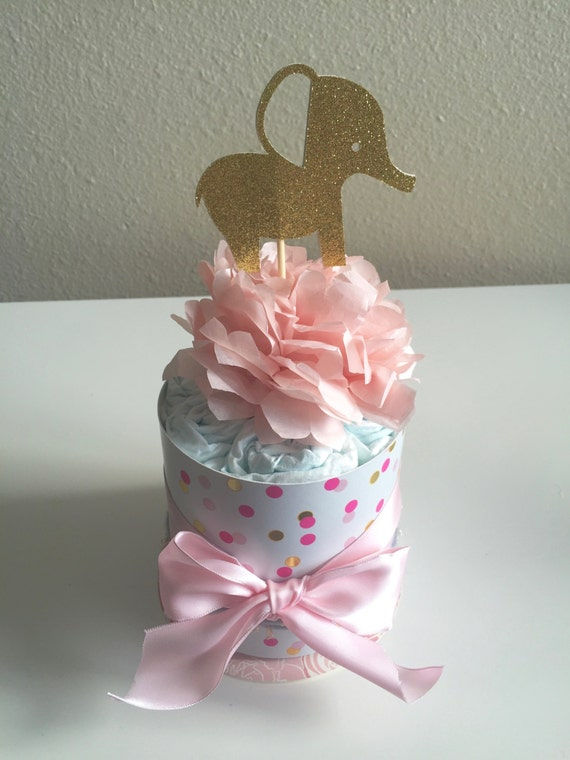Pink gold elephant mini diaper cake baby shower