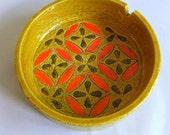 Vintage Mid Century Ashtray, Air Plant Holder, Bowl, Dish - Aldo Londi for Bitossi, Rosenthal Netter, Paisley pattern, Yellow Orange Green