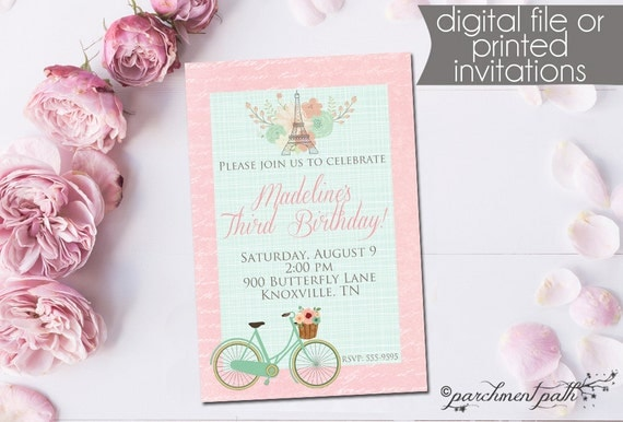 Paris birthday invitation french floral bicycle printable il570xn stopboris Gallery