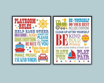"""Wall art for boys room, Playroom Rules Wall Art, SET OF 2 8""""x10"""", 11x14 Printable Wall art, kids art, boys room decor, printable art prints"""