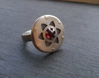 Multi-layered Flower of Life Ring - Handcrafted Sacred Geometry - handcut sterling silver and and red garnet.