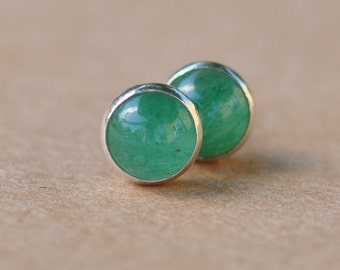 Aventurine Earrings handmade with Sterling Silver Studs, 6mm Green Aventurine Gemstones, silver jewelry,  light green, natural, gifts