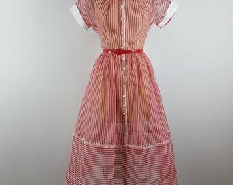 candyland | vintage 1960s fit flare dress | vtg 60s sheer dress | nos | nwt | large/l