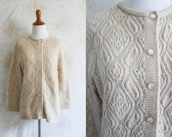 Vintage 60s Pointelle Cardigan, 1960s Sweater, Button Down, Small
