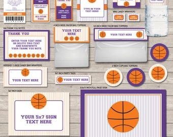 Printable Basketball Party Set - Purple & Orange - full Printable Package - INSTANT DOWNLOAD with EDITABLE text - you personalize at home