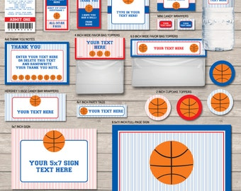 Basketball Party Package - Navy Blue & Red - full Printable Set - INSTANT DOWNLOAD with EDITABLE text - you personalize at home