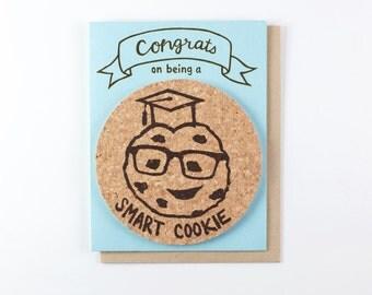 Smart Cookie graduation card - coaster card