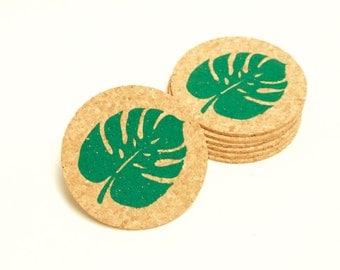 Palm Leaf coaster set - 6 cork coasters