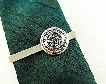 Tie Clip Tie Bar, Mens Silver Marine Corp  Framed  Mens Accessories Handmade
