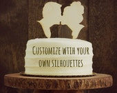 Rustic Custom Silhouette Wedding Cake Topper Personalized with Custom Silhouettes of YOU - made by Simply Silhouettes