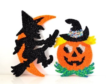 Vintage 70s Plastic Popcorn Halloween Decorations Pumpkin & Witch