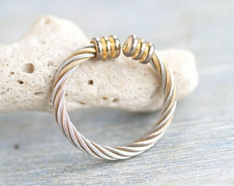 Ball End Ring - Vintage Twisted Rope Ring Size 9.5 Adjustable