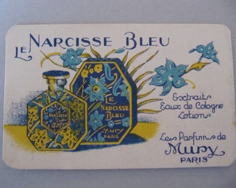 Le Narcisse Bleu perfume ad, Mury Paris perfume advertizement card, perfume ad 1920's, Art Deco French perfume ad package insert card