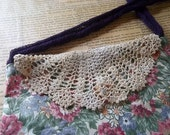 Upcycled floral sling bag with vintage crocheted doily flap