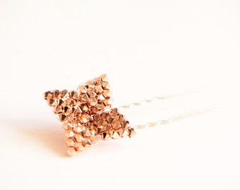 Rose gold Swarovski flower hair pin - boho wedding