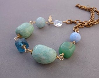 Reserved Chunky Blue Necklace - Statement Amazonite Necklace with Aventurine, Vintage Glass, Crystal and Brass