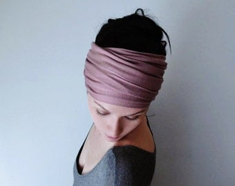Deal of the Day - MAUVE Head Scarf - Yoga Headband -  Dusty Rose Hair Wrap - Jersey Activewear Headband - Womens Bohemian Hair Accessory