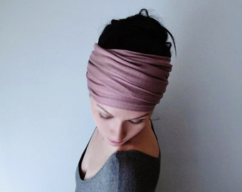 MAUVE Head Scarf - EcoShag Yoga Headband -  Dusty Rose Hair Wrap - Jersey Activewear Headband - Womens Bohemian Hair Accessory