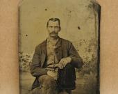 Victorian Tintype Studio Photograph of a Man Antique Vintage