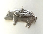Silver Pig with Wings Pendant Charm (1pc)