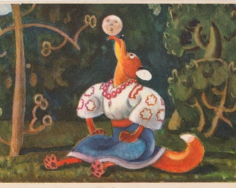 """Ukrainian Postcard Drawing by V. Litvinenko for Russian Tale """"The Round Little Bun"""" -- 1960s. Condition 8/10"""
